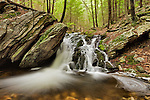 A small waterfall along the M-M Trail in Holland Glen, Belchertown, Massachuseets.