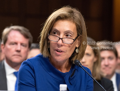 Lisa S. Blatt, partner, Arnold and Porter, and a self-described liberal Democrat, introduces Judge Brett Kavanaugh before the US Senate Judiciary Committee on his nomination as Associate Justice of the US Supreme Court to replace the retiring Justice Anthony Kennedy on Capitol Hill in Washington, DC on Tuesday, September 4, 2018.<br /> Credit: Ron Sachs / CNP<br /> (RESTRICTION: NO New York or New Jersey Newspapers or newspapers within a 75 mile radius of New York City)
