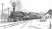 3/4 view of K-28 #470 at Durango station.<br /> D&amp;RGW  Durango, CO  Taken by Brown, Lawrie - 7/21/1942