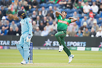 Mustafizur Rahman (Bangladesh) in action during England vs Bangladesh, ICC World Cup Cricket at Sophia Gardens Cardiff on 8th June 2019