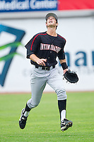 Right fielder Ryan Hamme #18 of the Kannapolis Intimidators chases after a fly ball against the Hickory Crawdads at  L.P. Frans Stadium August 1, 2010, in Hickory, North Carolina.  Photo by Brian Westerholt / Four Seam Images