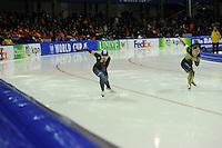 SCHAATSEN: HEERENVEEN: 14-12-2014, IJsstadion Thialf, ISU World Cup Speedskating, Sang-Hwa Lee (KOR), Nao Kodaira (JPN), ©foto Martin de Jong