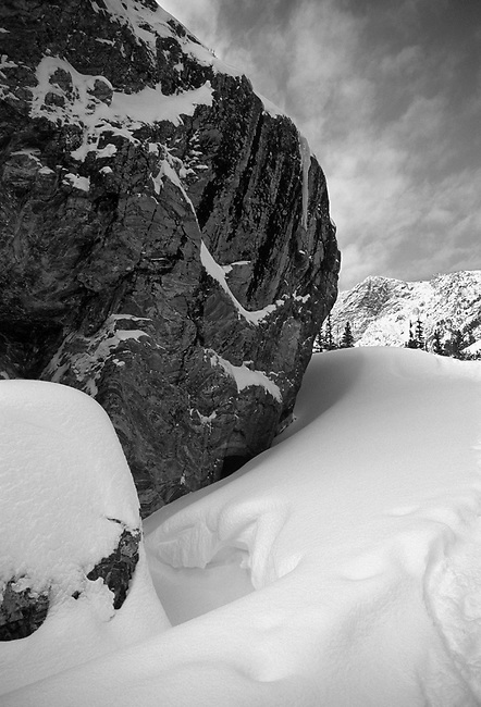 boulder, snow, Rocky Mountain National Park, Colorado, black and white