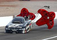 Apr 10, 2015; Las Vegas, NV, USA; NHRA funny car driver Cruz Pedregon during qualifying for the Summitracing.com Nationals at The Strip at Las Vegas Motor Speedway. Mandatory Credit: Mark J. Rebilas-