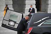 The casket of Senator John McCain, R-Ariz., is transported from the U.S. Capitol in Washington D.C. to the National Cathedral on Saturday, Sept. 01, 2018, in Washington, D.C.<br /> Credit: Marvin Joseph / Pool via CNP