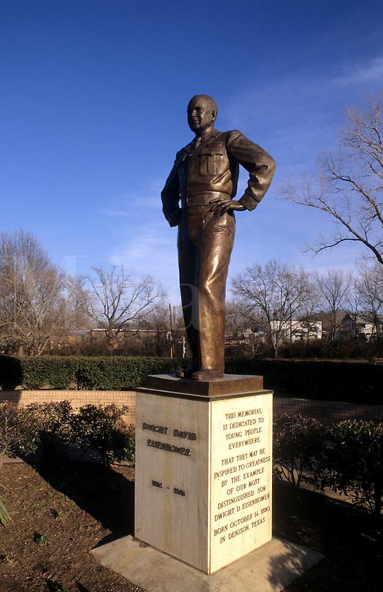 Statue of President Dwight Eisenhower in hometown, Denison Texas