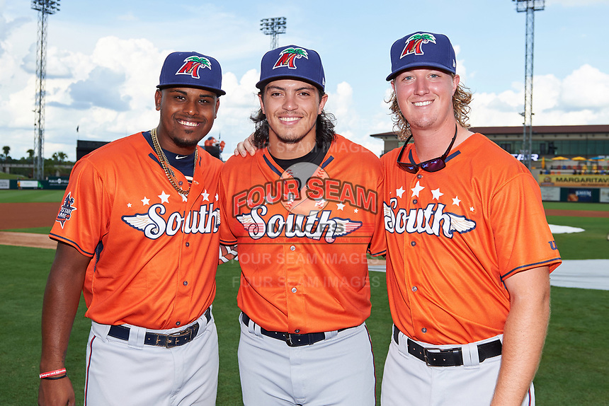 Fort Myers Miracle catcher Brian Brian Navarreto (left), pitcher Dereck Rodriguez (center), and pitcher Sam Clay (right) pose for a photo before the Florida State League All-Star Game on June 17, 2017 at Joker Marchant Stadium in Lakeland, Florida.  FSL North All-Stars  defeated the FSL South All-Stars  5-2.  (Mike Janes/Four Seam Images)