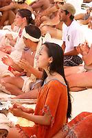 Young woman performer at Playa del Carmen or Xamanha, Sacred Mayan Journey 2011 event, Riviera Maya, Quintana Roo, Mexico.