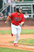 Elizabethton Twins first baseman Chris Williams (40) runs to first base during game two of the Appalachian League Championship Series against the Princeton Rays at Joe O'Brien Field on September 5, 2018 in Elizabethton, Tennessee. The Twins defeated the Rays 2-1 to win the Appalachian League Championship. (Tony Farlow/Four Seam Images)