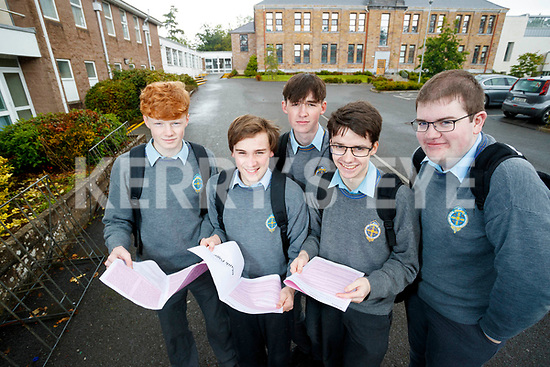 Diarmuid Murphy, Sean Cahill, Brian McKenna, Cathal Hanafin and Gearóid O'Connor, students from, CBS, The Green, Tralee, who sat their Leaving Certificate English exam on Wednesday morning last.