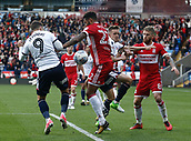 9th September 2017, Macron Stadium, Bolton, England; EFL Championship football, Bolton Wanderers versus Middlesbrough; Cyrus Christie of Middlesbrough tussles with Adam Le Fondre of Bolton Wanderers