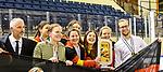 09.01.2020, BLZ Arena, Füssen / Fuessen, GER, IIHF Ice Hockey U18 Women's World Championship DIV I Group A, <br /> Siegerehrung, <br /> im Bild das deutsche Team feiert seinen Erfolg, Coaching Stuff Team Deutschland mit Frauen Bundestrainer Christian Künast / Kuenast, Teammanagerin Julia Graunke, U 18 Bundestrainerin Franziska Busch mit Pokal, ganz rechts Co-Trainer Marius Riedel <br /> <br /> Foto © nordphoto / Hafner