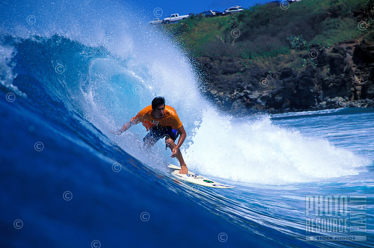 Nate Barnes surfing in Honolua Bay on Maui