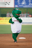 Kannapolis Intimidators mascot Tim E. Gator runs the bases between innings of the South Atlantic League game against the Lakewood BlueClaws at CMC-Northeast Stadium on May 16, 2015 in Kannapolis, North Carolina.  The BlueClaws defeated the Intimidators 9-7.  (Brian Westerholt/Four Seam Images)