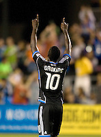 Simon Dawkins of Earthquakes celebrates after he scored a goal during the second half of the game against Seattle at Buck Shaw Stadium in Santa Clara, California on August 11th, 2012.   Earthquakes defeated Sounders, 2-1.