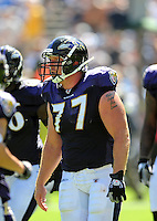 Sep. 20, 2009; San Diego, CA, USA; Baltimore Ravens center (77) Matt Birk against the San Diego Chargers at Qualcomm Stadium in San Diego. Baltimore defeated San Diego 31-26. Mandatory Credit: Mark J. Rebilas-