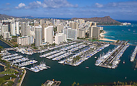Aerial of Diamond head, Waikiki Beach with Ala Wai harbor, Waikiki, Oahu