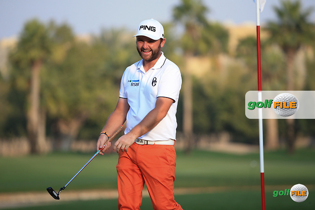 Always enjoying the craic, Andy Sullivan (ENG) during the Pro-Am at the 2016 Omega Dubai Desert Classic, played on the Emirates Golf Club, Dubai, United Arab Emirates.  03/02/2016. Picture: Golffile | David Lloyd<br /> <br /> All photos usage must carry mandatory copyright credit (&copy; Golffile | David Lloyd)