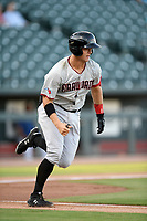 Third baseman Josh Jung (15) of the Hickory Crawdads runs out a batted ball in a game against the Columbia Fireflies on Wednesday, August 28, 2019, at Segra Park in Columbia, South Carolina. Hickory won, 7-0. (Tom Priddy/Four Seam Images)
