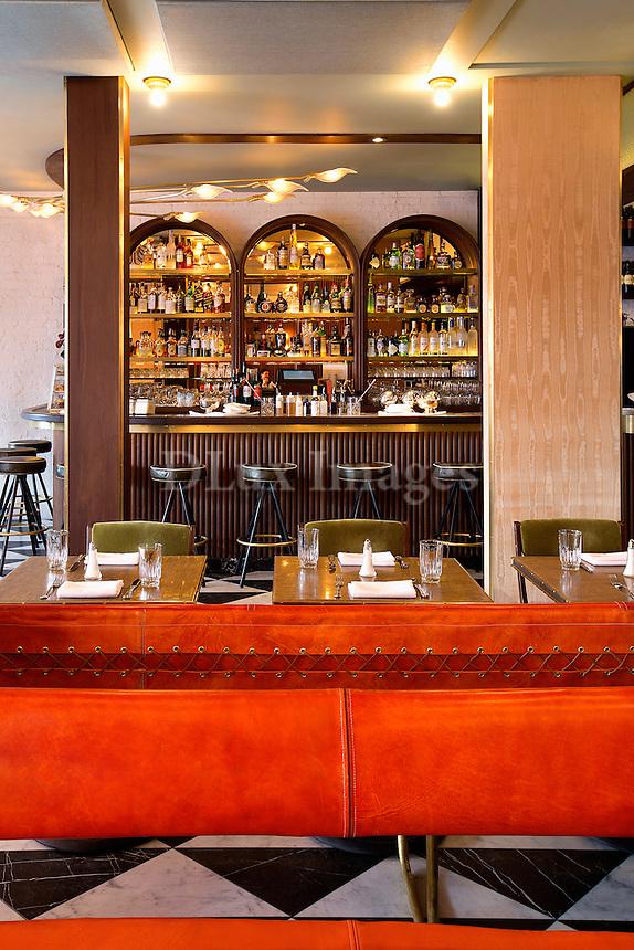 restaurant orange sofa Sant Ambroeus Soho