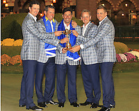 30 SEP 12  The English contingency enjoying the celebration after the Europeans dramatic victory at The 39th Ryder Cup at The Medinah Country Club in Medinah, Illinois. Justin Rose, Lee Westwood, Jose Maria Olazabal, Luke Donald, and Ian Poulter hold the trophy.                                         (photo:  kenneth e.dennis / kendennisphoto.com)