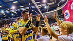 Alexander PETERSSON (#32 Rhein-Neckar Loewen) mit Fans\ beim Spiel in der Handball Bundesliga, SG BBM Bietigheim - Rhein Neckar Loewen.<br /> <br /> Foto &copy; PIX-Sportfotos *** Foto ist honorarpflichtig! *** Auf Anfrage in hoeherer Qualitaet/Aufloesung. Belegexemplar erbeten. Veroeffentlichung ausschliesslich fuer journalistisch-publizistische Zwecke. For editorial use only.