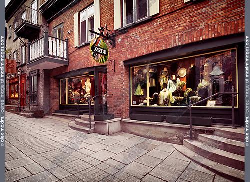 Zazou fashion clothing store on Rue Petit Champlain historic street in Old Quebec City, Canada. Rue du Petit-Champlain, Ville de Québec.