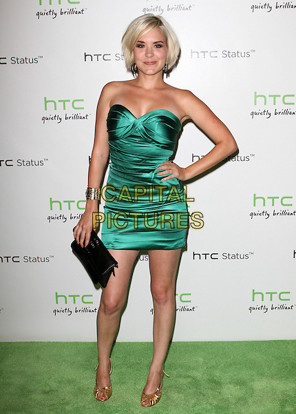 Brea Grant.The HTC Statusª Social Launch Event held at Paramount Studios in Hollywood, California, USA..July 19th, 2011.full length green strapless silk satin dress hand on hip black clutch bag  .CAP/ADM/KB.©Kevan Brooks/AdMedia/Capital Pictures.