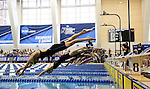 19 MAR 2016: Swimmers leap off their blocks as they compete in the 100 Yard Freestyle final during the Division I Women's Swimming & Diving Championship held at the Georgia Tech Aquatic Center in Atlanta, GA. David Welker/NCAA Photos
