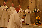 Israel, Jerusalem Mountains. Ordination ceremony of Brother Olivier at the Crusader Church in Abu Gosh