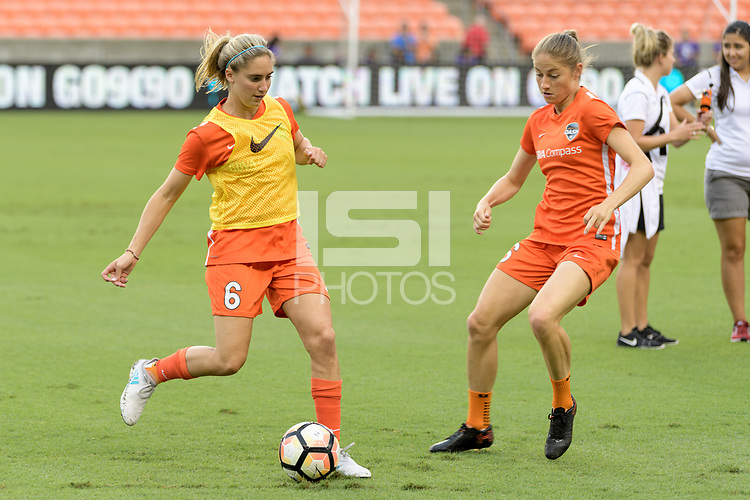 Houston, TX - Saturday July 15, 2017: Morgan Brian and Janine Beckie warming up during a regular season National Women's Soccer League (NWSL) match between the Houston Dash and the Washington Spirit at BBVA Compass Stadium.
