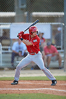 Blake Wright (40) during the WWBA World Championship at the Roger Dean Complex on October 10, 2019 in Jupiter, Florida.  Blake Wright attends Clearwater Cntrl Cath High School in Belleair, FL and is committed to Clemson.  (Mike Janes/Four Seam Images)