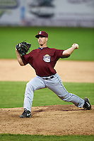 Mahoning Valley Scrappers pitcher Billy Strode (28) delivers a pitch during the second game of a doubleheader against the Batavia Muckdogs on July 2, 2015 at Dwyer Stadium in Batavia, New York.  Mahoning Valley defeated Batavia 3-0.  (Mike Janes/Four Seam Images)