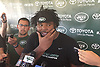 Sheldon Richardson #91 of the New York Jets scrathes his chin as speaks with the media after the second day of team training camp held at Atlantic Health Jets Training Center in Florham Park, NJ on Sunday, July 30, 2017.