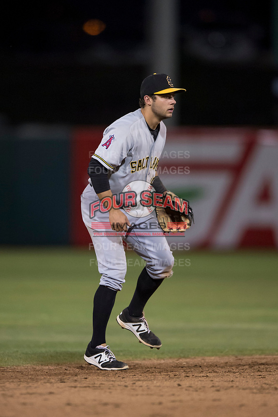 Salt Lake Bees shortstop David Fletcher (15) during a Pacific Coast League game against the Fresno Grizzlies at Chukchansi Park on May 14, 2018 in Fresno, California. Fresno defeated Salt Lake 4-3. (Zachary Lucy/Four Seam Images)
