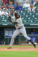 Salt Lake Bees Jo Adell (26) at bat during a Pacific Coast League game against the Iowa Cubs on August 10, 2019 at Principal Park in Des Moines, Iowa.  Iowa defeated Salt Lake 7-3.  (Travis Berg/Four Seam Images)