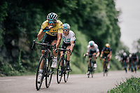 yellow jersey / GC leader Gianni Moscon (ITA/SKY) escorted by teammates during lunch<br /> <br /> Stage 5: Grenoble > Valmorel (130km)<br /> 70th Critérium du Dauphiné 2018 (2.UWT)