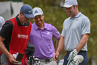 Paul Casey (GBR) shares a laugh with Xander Schauffele (USA) on the tee on 18 during round 4 of the World Golf Championships, Mexico, Club De Golf Chapultepec, Mexico City, Mexico. 2/24/2019.<br /> Picture: Golffile | Ken Murray<br /> <br /> <br /> All photo usage must carry mandatory copyright credit (© Golffile | Ken Murray)
