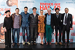 Actors Hugo Silva, Michelle Jenner, Veronica Forque, Oscar Ladoire and Ernesto Sevilla, and movie director David Serrano pose during `Tenemos que hablar´ film presentation in Madrid, Spain. February 24, 2016. (ALTERPHOTOS/Victor Blanco)