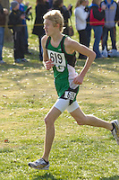 Andrew Moore sprints to the finish of the Class 3 Boys race in 2nd place at the Missouri State Cross Country Championships in Jefferson City, Saturday, November 3.