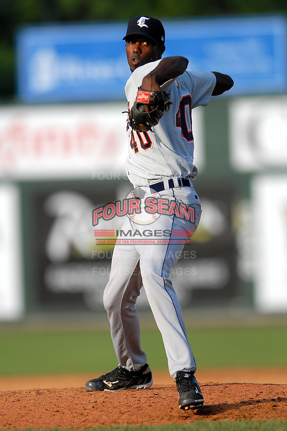 Pitcher Pedro Perez #40 of the Connecticut Tigers during a game versus the Lowell Spinners at LeLacheur Park in Lowell, Massachusetts on June 18, 2011. (Ken Babbitt/Four Seam Images)