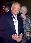"Former Astronaut Edwin E. ""Buzz"" Aldrin, Jr. attends the 1999 White House Correspondents Association annual dinner at the Washington Hilton Hotel in Washington, D.C. on May 1, 1999..Credit: Ron Sachs / CNP"