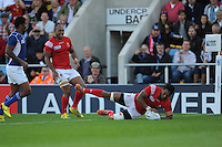 Jack Ram of Tonga scores a try during Match 20 of the Rugby World Cup 2015 between Tonga and Namibia - 29/09/2015 - Sandy Park, Exeter<br /> Mandatory Credit: Rob Munro/Stewart Communications