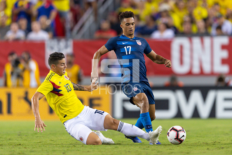 Tampa, FL - Thursday, October 11, 2018: James Rodriguez, Antonee Robinson during a USMNT match against Colombia.  Colombia defeated the USMNT 4-2.