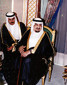 King Fahd bin Abd al-Aziz al Saud  of Saudi Arabia is visited by United States Secretary of Defense William S. Cohen at his palace in Jeddah, Kingdom of Saudi Arabia on February 8, 1998.<br /> Mandatory Credit: Helene C. Stikkel / DoD via CNP