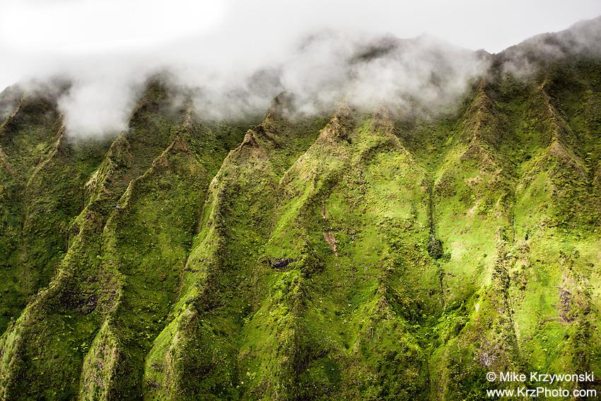 Aerial close up view of the Ko'olau mountains, Kaneohe, Oahu
