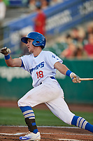 Rylan Bannon (18) of the Ogden Raptors bats against the Great Falls Voyagers at Lindquist Field on August 16, 2017 in Ogden, Utah. The Voyagers defeated the Raptors 11-6. (Stephen Smith/Four Seam Images)