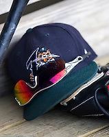 New Orleans hat 3206.jpg.  PCL baseball featuring the New Orleans Zephyrs at Round Rock Express  at Dell Diamond on June 19th 2009 in Round Rock, Texas. Photo by Andrew Woolley.