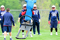 June 7, 2017: New England Patriots defensive end Kony Ealy (94) works with a tackle dummy at the New England Patriots mini camp held on the practice field at Gillette Stadium, in Foxborough, Massachusetts. Eric Canha/CSM