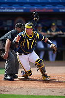 Michigan Wolverines catcher Harrison Wenson (7) looks for a pitch in the dirt in front of umpire Kyle Reese during the second game of a doubleheader against the Canisius College Golden Griffins on February 20, 2016 at Tradition Field in St. Lucie, Florida.  Michigan defeated Canisius 3-0.  (Mike Janes/Four Seam Images)